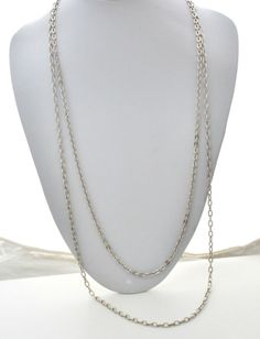 """Signed Sarah Coventry Vintage Necklace Double Link 30"""" Long Silver Tone Estate"""