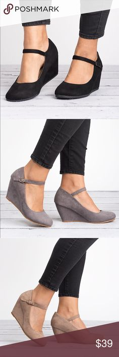 Black Mary Jane Wedge Pumps Brand new in box. Comfy for long office days or a night out these wedges are a must have. Closed round toe front Ankle straps with adjustable buckle closure. Wedge heel material: Faux Suede Heel height/type: 3-inch Platform Bella Marie Shoes Wedges