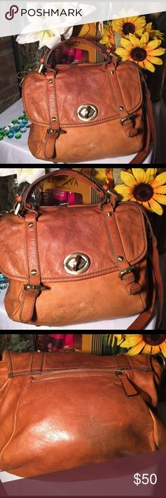 Italian Leather Bag Sz 11x12- 4' handle- 27' strap- Good condition- Can be worn as a cross body- Tan color- Minor wear- Needs cleaning- Genuine leather- Very nice bag. Bags Shoulder Bags