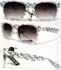 Music Notes Retro Smoke Wayfarer Sunglasses White KMS | eBay