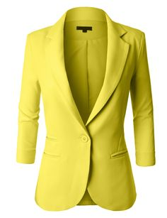 LE3NO Womens Fitted 3/4 Sleeve Blazer Jacket | LE3NO