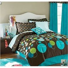 Teal Bedding for Teens | ... Turquoise & Green Polka Dot Teen Full Comforter Set (8Pc Bed In A Bag
