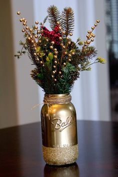 Mason jars are the classic yet super trendy accent piece that will take your holiday decor to the next level! Try using gold spray paint and glitter for a special seasonal touch.