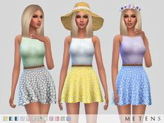 The Sims Resource: Daisy Dress by Metens • Sims 4 Downloads