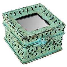 Turquoise Iron Jewel Box with Mirror Top