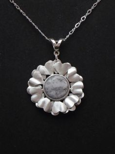 """Sugar"" - Sterling & Fine Silver (satin finish) with Lace Agate."