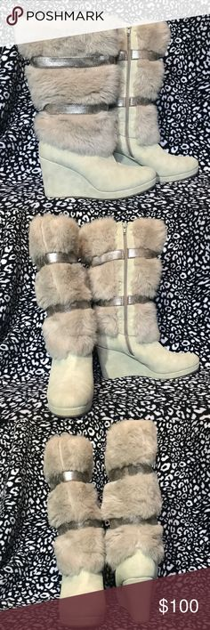 ⚡️SALE⚡️Extra warm and comfy wedge boots Bought these from Europe. They are extremely comfy and warm (see the inside pic). Excellent condition. Make an offer  graceland Shoes Heeled Boots