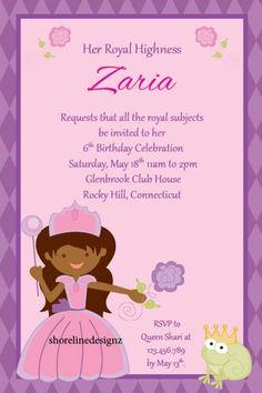 Handmade princess birthday party invitations diy kids birthday custom african princess theme birthday party invite i create you print filmwisefo