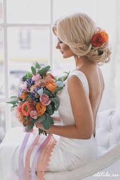 Fall Wedding Hairstyle with Orange Flowers