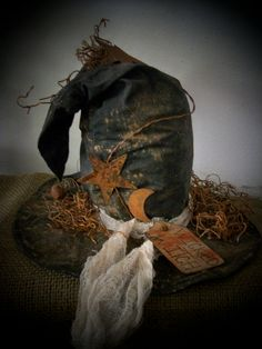 Primitive Halloween Black Witch Hat