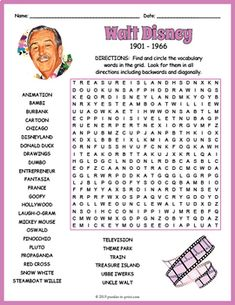 Word Puzzles For Kids, Word Search Puzzles, Who Was Walt Disney, Disney Fun, Disney Activities, Elderly Activities, Walt Disney History, Walt Disney Biography, Disney Word Search