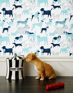 Our luxe, modern wallpapers are screen printed by hand. Dog Park (Blue)