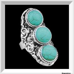 Vintage Bohemian Turquoise Ring, Antique Silver Alloy Carving Rings Fashion Jewelry by Magandaisa on Etsy