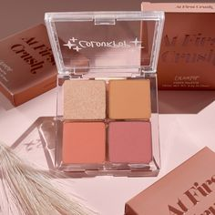 Stay cheeky with the perfect flush of colour! This full collection of our 4-pan cheek palettes will become your go-to for blushing cheeks! Features our new all-in-one cheek palettes with a bronzer, blush, and highlighter in one. Brush on a touch of sunkissed colour with our silky smooth bronzer, follow with a blush for a smooth, soft-focus flush, and top off with cult-fave Super Shock highlighter for a radiant glow. Neutral Eyes, Neutral Makeup, Cheek Makeup, Blush On Cheeks, Golden Tan, Colourpop Cosmetics, First Crush, Everyday Makeup, Bronzer