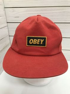 93ffe847d Obey Orange Cap Snapback Hat Streetwear Surfer Flat Bill Patch Sample As Is   OBEY