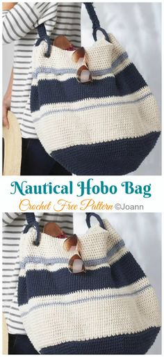 Nautical Boho Tote Bag Crochet Free Pattern - Tote Free Patterns Source by howtomakes Bags Bag Crochet, Crochet Clutch, Crochet Handbags, Crochet Purses, Free Crochet, Nautical Crochet, Nautical Tote Bags, Knitted Bags, Sweaters Knitted