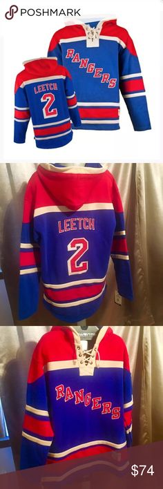 Old time Hockey Ny Rangers Leetch Hooded Jersey XL Nwt Ny rangers Brian  Leetch Old Time Hockey Hooded sweatshirt Jersey size XL .80% cotton  52055acb3