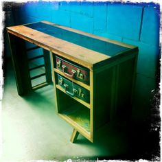 desk made of oak, glass and two vintage suitcases