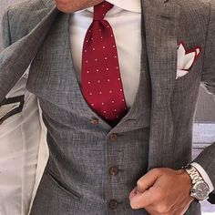 Mid Grey 3 Pieces With Tie & Pocket Square by @otaa.australia