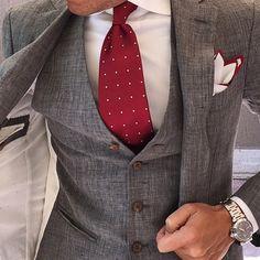 Mid Grey 3 Pieces With Tie & Pocket Square by @otaa.australia