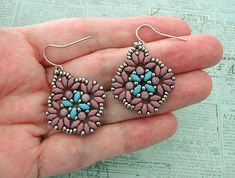 Linda's Crafty Inspirations: Circles & Squares Earrings - Lavender & Blue