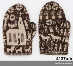 Swedish mittens knitted 1855