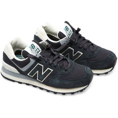 New Balance ML574 suede and mesh sneakers (520 ILS) ❤ liked on Polyvore featuring shoes, sneakers, zapatillas, black, darkgreen, black hi tops, suede high top sneakers, new balance trainers, black hi top sneakers et mesh sneakers