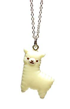Alpaca Necklace  Kawaii alpaca charm pendant  Cute by BitOfSugar, $9.00