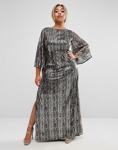 Lovedrobe Luxe All Over Embellished Kimono Sleeve Maxi Dress at asos.com