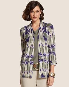 Blurred Ikat Bella Cardigan from Chico's on shop.CatalogSpree.com, your personal digital mall.