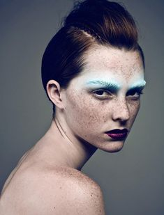 Inspired by - Editorial. #Editorial #Makeup #Eyes #Lips #BabyBlue #BlueEyebrows #Eyebrows #Freckles