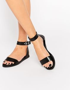 ALDO+Erina+Black+Simple+Strap+Flat+Sandals