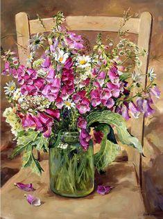 Foxgloves in a Glass Jar | Mill House Fine Art – Publishers of Anne Cotterill Flower Art