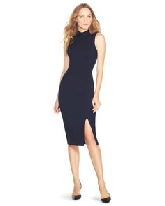 """This midi sheath exudes unparalleled sultriness, thanks to its front slit and exposed back zipper. Princess seams and a touch of stretch work together to ensure this mock-neck dress fits exquisitely.   Sleeveless mock neck sheath dress.    Back zip.   Rayon/nylon/spandex. Machine wash, cold.   Approx. 43"""" from shoulder.   Imported."""