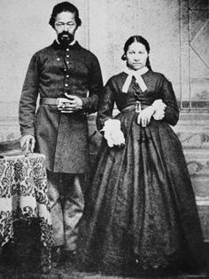 A Black Union Solder and his wife during The Civil War.. Post mortem