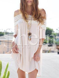 Robe épaule dénudée avec dentelle - Blanc 14.71