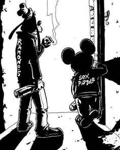 Disney Punk Mickey and Goofy Disney Punk, Dark Disney, Disney Love, Disney Art, Disney Mickey, Hipster Disney, Disney Style, Comic Kunst, Cartoon Kunst