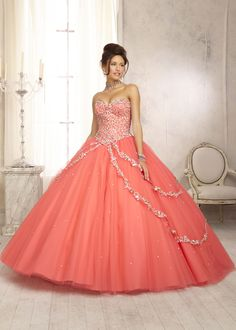 Vizcaya 88091 - Coral Beaded Strapless Quinceanera Prom Dresses Online #thepromdresses