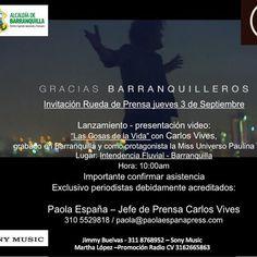 Este jueves 03 de septiembre desde #barranquilla y en rueda de prensa @carlosvives presenta el video #lascosasdelavida protagonizada por @paulinavegadiep @missuniverse #CarlosVivesPress #TeamVives #PaolaEspañaPress by jimepalaciosm