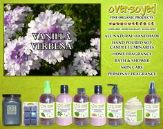 Vanilla Verbena (Compare To Bath & Body Works®) Product Collection - A compelling blend of bright verbena, sweet vanilla, Sicilian lemon, orange zest, jasmine, creamy heliotrope, amber, white musk and precious woods.  #OverSoyed #VanillaVerbena #Candles #HomeFragrance #BathandBody #Beauty