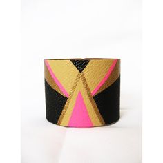 TRIBAL / Chevron NEON---(Golden, neon pink, beige and black) 2 inch... ($18) ❤ liked on Polyvore