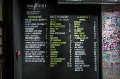 """Chalk markers menu for """"Bistro Tancereczka"""", Poznań, Poland"""