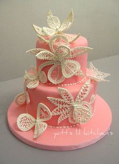 lace wedding cake OR for anyone who loves feminine, birthday, shower, many possibilities