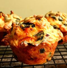 pumpkin, spinach & feta muffins- omit cheese, sub almond milk Savoury Cake, Savoury Dishes, Spinach And Feta Muffins, Cheese Scones, Savory Muffins, Sweet Desserts, Dairy Free Recipes, High Tea, Finger Foods