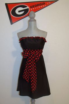 Black and red dots for University of Georgia Bulldog Game day via Etsy