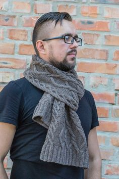 Hand knitted scarf for men coffee with milk knitted scarf от BUPO
