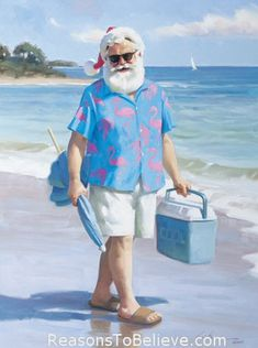 """Way Cool - canvas giclee print. This Santa Claus print uses the giclee printing process (fade resistant archival inks and special printers) to allow our prints to look as close to Tom Brownings original oil painting as possible. The canvas print is then stretched and mounted to an archival quality board, 1/4 inch thick, and measures 11"""" X 14""""."""