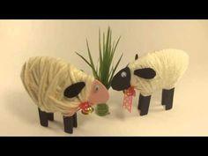 Pecorelle fai-da-te riciclando mollette del bucato, cartone e lana. Tuto...