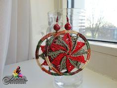 Green & Red Pinwheel Earrings