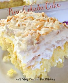 Pina Colada Cake ~ Heavenly poke cake recipe that's filled with lots of coconut flavor, the cake is moist, delicious and wonderful. Color the coconut on top with holiday colors if desired. No pineapple added to cake. This recipe is not complete. Sweet Treats, Yummy Treats, Yummy Food, Köstliche Desserts, Dessert Recipes, Coconut Desserts, Picnic Recipes, Health Desserts, Pina Colada Cake